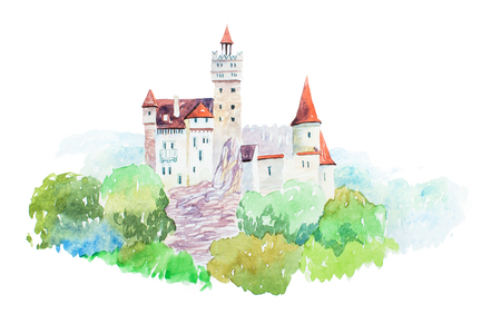 Dracula medieval Castle Bran famous landmarks travel and tourism waercolor illustration Stock Photo