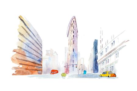 Moderne gebouwen in stedelijke stad low angle view aquarel illustratie.