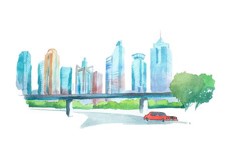 Waterverf tekening cityscape grote stad binnenstad, aquarelle schilderij. Stockfoto