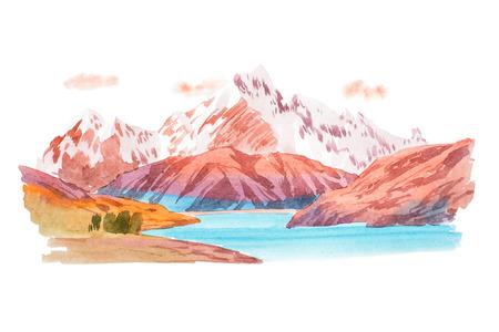 Natürliche Landschaft Berge und den Fluss Aquarell-Illustration Standard-Bild - 74623210
