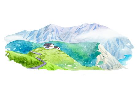 Natural summer beautiful mountain landscape watercolor illustration. Banco de Imagens