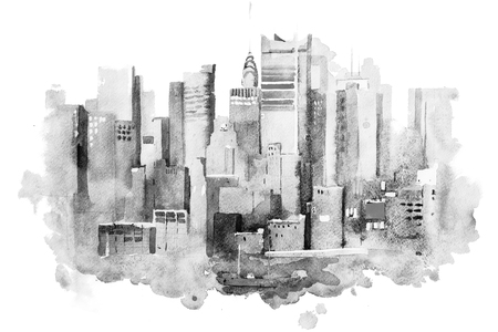 watercolor drawing of New York cityscape, USA. Manhattan aquarelle painting Stock Photo