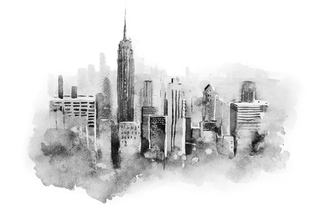 watercolor drawing cityscape big city downtown, aquarelle painting. Imagens