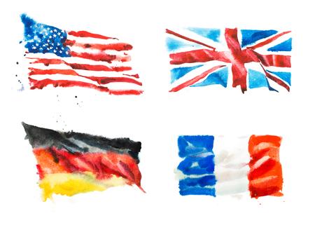 アメリカ、イギリス、フランス、ドイツの国旗の手描き水彩イラスト。