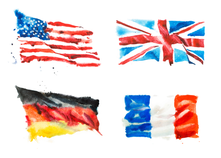 미국, 영국, 프랑스, 독일의 국기 손으로 그린 수채화 그림입니다.