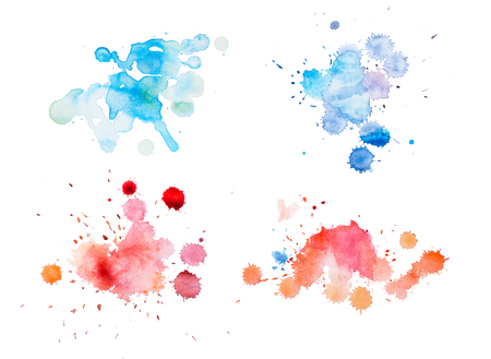colorful retro vintage abstract watercolour aquarelle art hand paint on white background Stock Photo