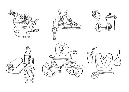 Hand getrokken sport apparatuur pictogrammen vector illustratie