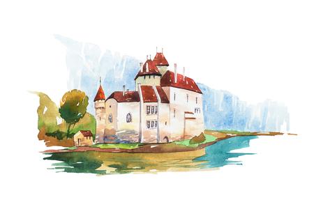 Chillon Castle at Geneva lake famous landmarks travel and tourism waercolor illustration