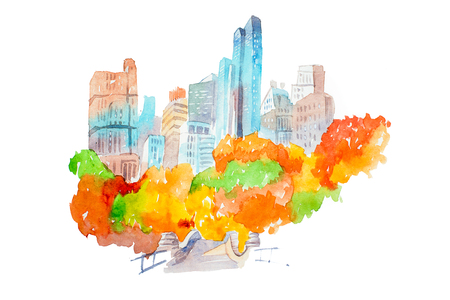 City park in autumn skyscrapers and colorful trees watercolor illustration. Stock Photo