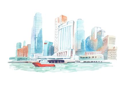 City skyline on the river watercolor illustration. 版權商用圖片
