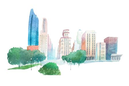 Aquarelle moderne stad landschap park en gebouwen aquarel illustratie. Stockfoto