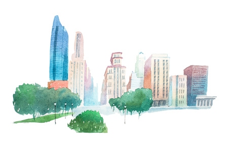 Aquarelle modern city landscape park and buildings watercolor illustration.