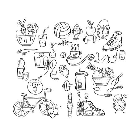 Hand drawn sport equipment icons vector illustration Ilustração