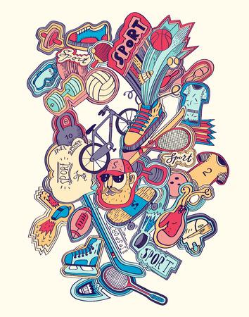 Hand drawn doodles sport concept. Sports equipment.