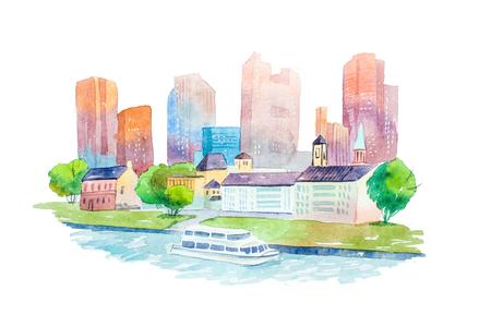 수채화 드로잉 악센트하지만 주택 및 건물 aquarelle 그림입니다.