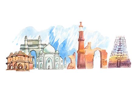 Berühmte indische Wahrzeichen reisen und Tourismus Waercolor Illustration Standard-Bild - 76173414