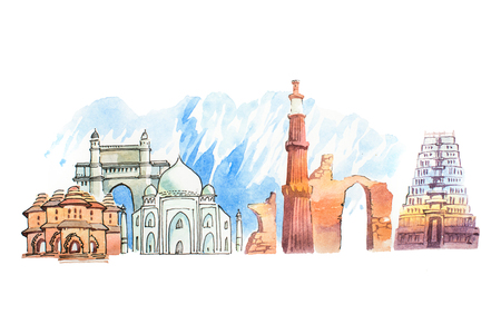 Famous Indian landmarks travel and tourism waercolor illustration