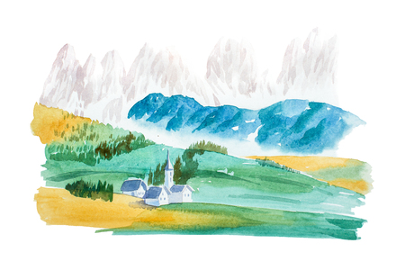 Natural summer landscape mountains and meadow watercolor illustration 版權商用圖片