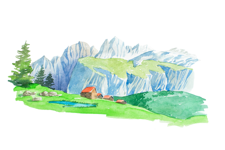 Natural summer beautiful mountain landscape watercolor illustration