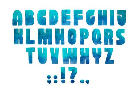 Aquarelle 글꼴 손으로 그려진 된 알파벳 수채화 그림. 스톡 콘텐츠