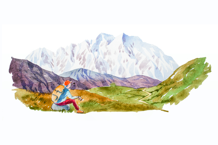 Traveler and mountain panorama with lake watercolor illustration.