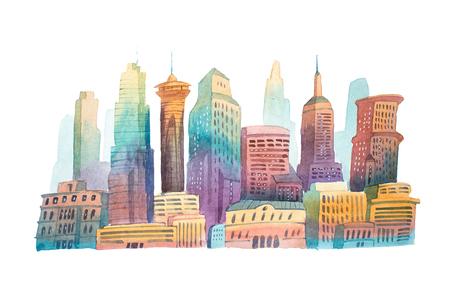 수채화 드로잉 저녁 도시에서 도시 풍경 수채화 그림입니다.