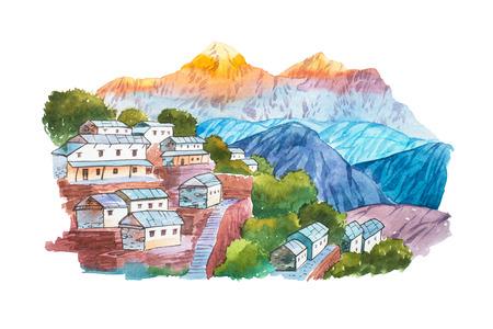 tibetan house: Warecolor illustration Himalayan village aquarelle drawings landscape.