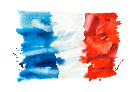 Flag of France, hand drawn watercolor illustration 스톡 콘텐츠