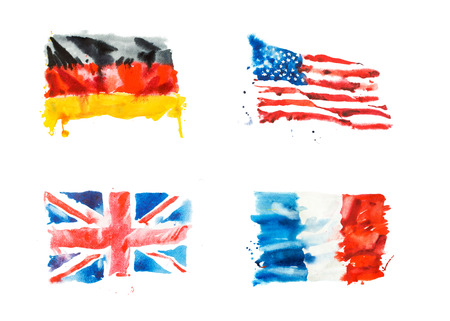 Flags of USA, Great Britain, France, Germany hand drawn watercolor illustration.