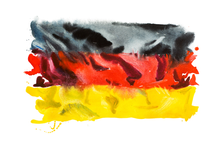 Flag of Germany, hand drawn watercolor illustration. Stock Photo