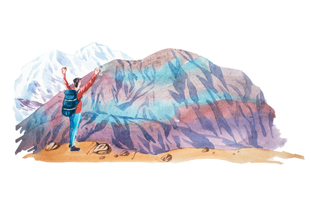 hiking: Man looking at natural mountain landscape watercolor illustration.