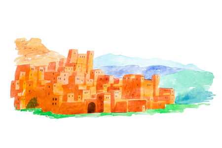 Watercolor illustration Kasbah Ait Ben Haddou in the Atlas mountains of Morocco Stock Photo