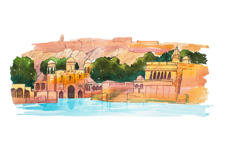 Hand-drawn watercolor sketch of Water Palace, lake Jaipur in India Stock Photo