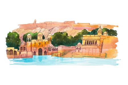 Handgetekende aquarel schets van Water Palace, meer Jaipur in India Stockfoto
