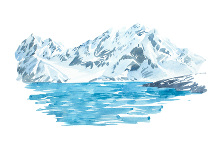 Natuurlijke mooie winter landschap berg en meer illustratie. Stockfoto