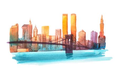 マンハッタン橋ニューヨークの街並みの水彩画イラスト。