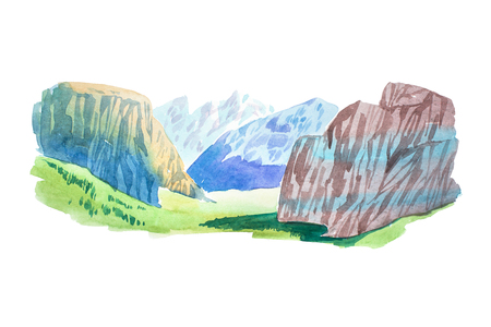 Natural summer beautiful mountain landscape watercolor illustration. Stock Photo