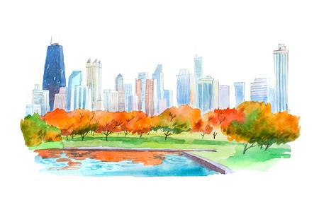 Autumn in city park natural beautiful landscape watercolor illustration. Stock Photo