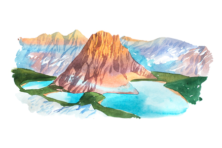 Natural summer beautiful mountain landscape watercolor illustration. Фото со стока