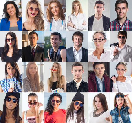 Collection of different many happy smiling young people faces caucasian women and men. Concept business, avatar. Reklamní fotografie - 78678084