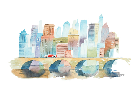 Hand drawn watercolor cityscape with a stone bridge in foreground and high buildings in background Banco de Imagens