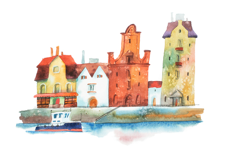 European city with row of old traditional houses and a boat on water painted  watercolors  white background 版權商用圖片