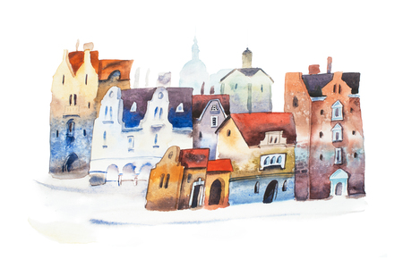 Hand drawn postcard of old city street in Europe. Watercolor cityscape Фото со стока