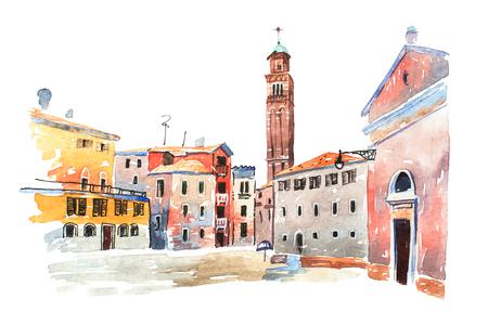 백서에 그려진 유럽 옛 마을의 색된 수채화 스케치. 베니스, 이태리에서 산타 마리아 데이 프라자 (Santa Maria dei Frari) 첨탑을보십시오.