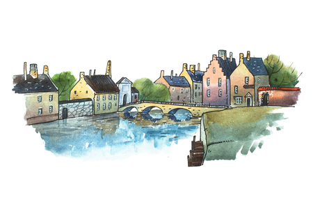 Watercolor postcard of stone bridge in a small old German town. Aquarelle illustration  European city in summer Stock Photo