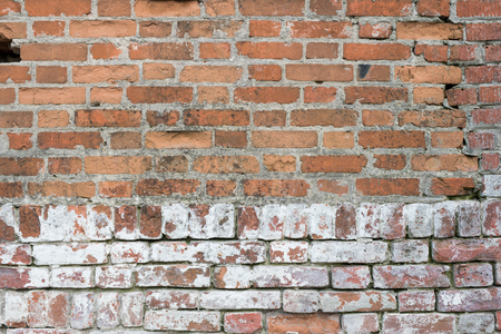 Brick wall, old texture of red stone blocks. Background.