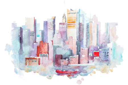 watercolor drawing of New York cityscape, USA. Manhattan aquarelle painting Imagens