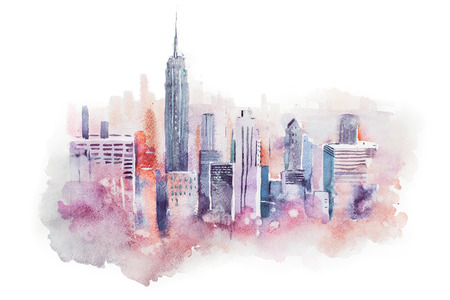 watercolor drawing cityscape big city downtown, aquarelle painting. Stock Photo