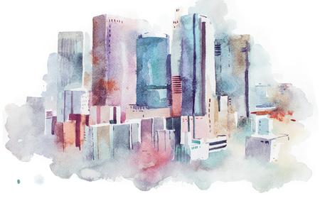 Gráfico de la acuarela del paisaje urbano grande centro de la ciudad, la pintura acuarela Foto de archivo - 80044378