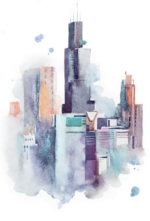 図面景観大都市繁華街 aquarelle 水彩画。